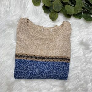 NORDIC LONG SLEEVE TAN/ BLUE SWEATER